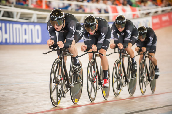 Team Pursuit qualifying at the Velódromo Alcides Nieto Patiño in Cali, Colombia on Day 1 of the upcoming  UCI Track Cycling World Championships